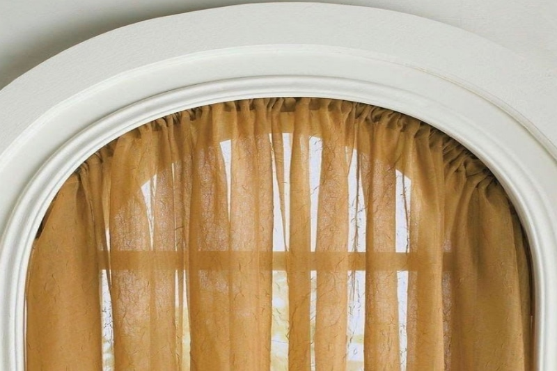 how to hang curtains on arched window