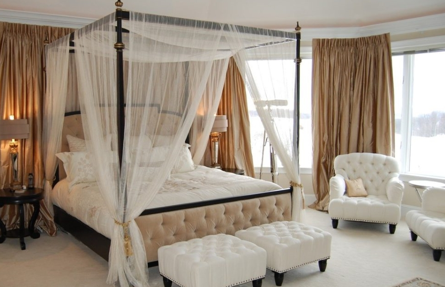 how to hang curtains on a canopy bed