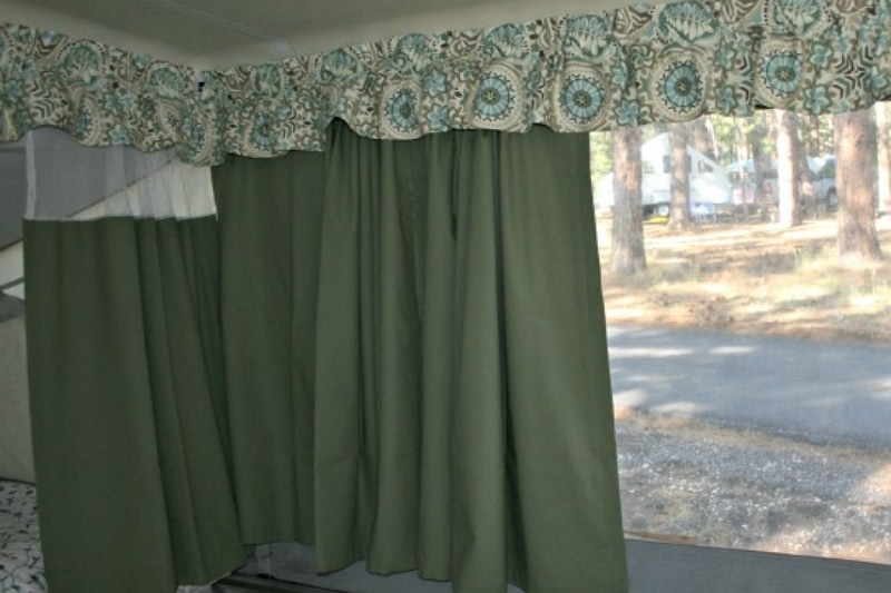 How to hang curtains in a pop up camper