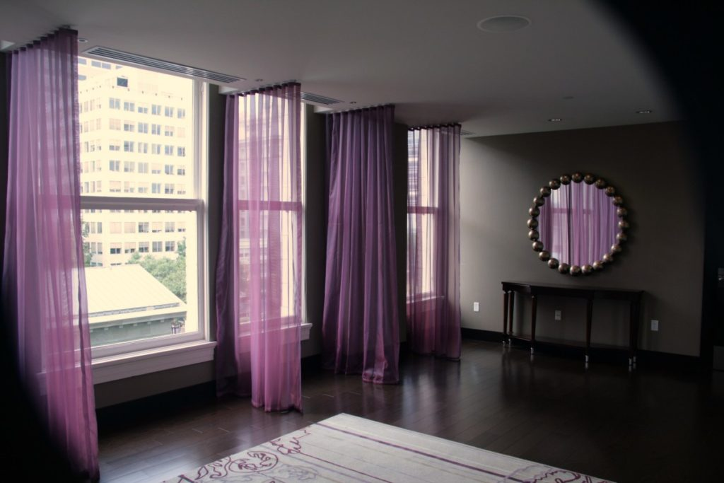 what color curtains go with lavender walls