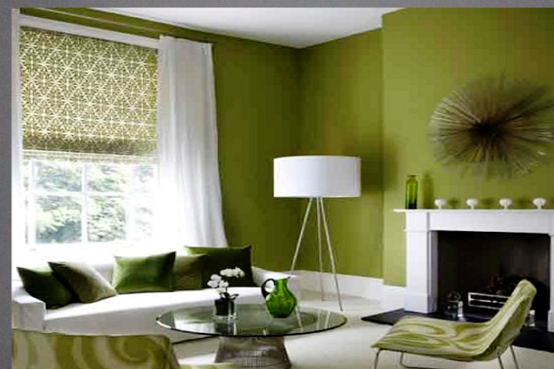what color curtains go with olive green walls