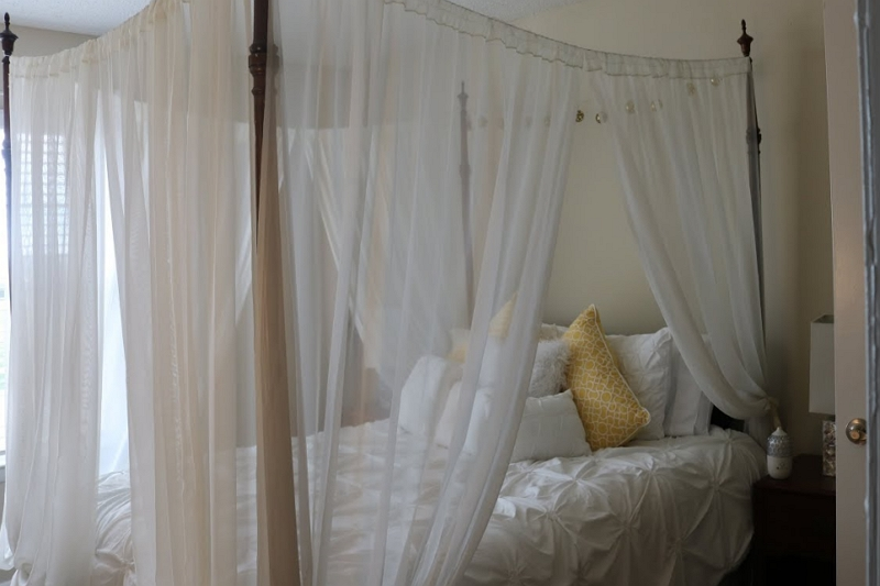 Make Canopy Bed Curtains Tutorial