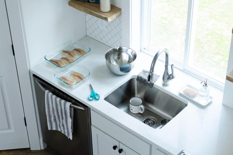 how to repair water damaged shelf under sink